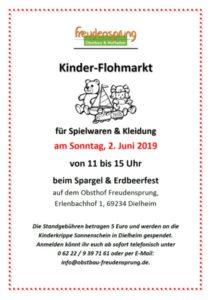 Kinderflohmarkt auf dem Obsthof Freudensprung beim Spargel & Erdbeerfest in Dielheim