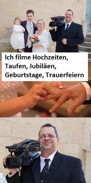 Hochzeitfilmer Oliver Döll, Taufe, Jubiläen, Geburtstage, Trauerfeiern, Oliver Döll, Am Rain 2, 69224 Maisbach. Tel: 0176-58717307 oder Tel: 06224-9022111
