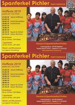 Spanferkel Pichler, Partyservice, Hoffeste 2019 Termine 300x421 Plakat