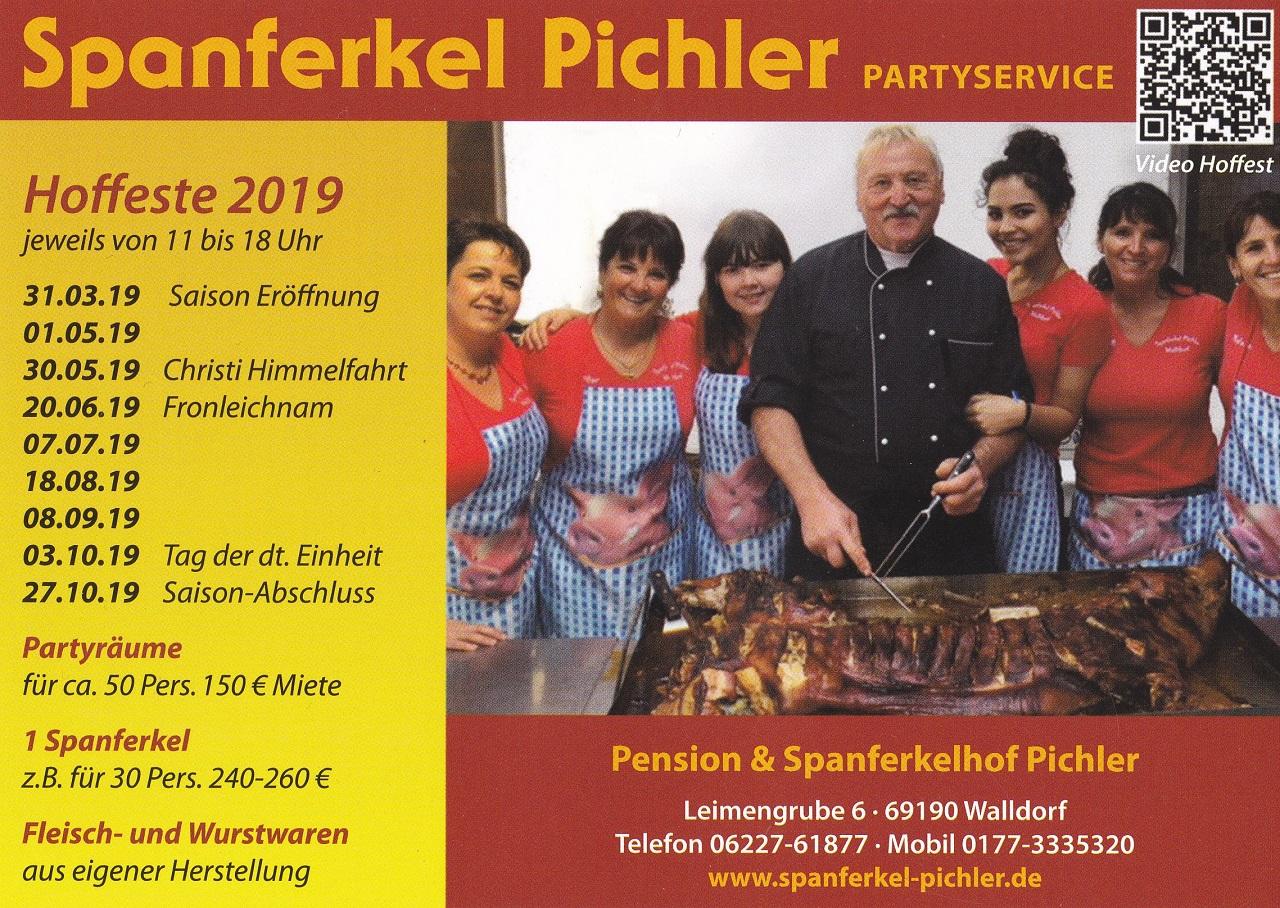 Spanferkel Pichler, Partyservice, Hoffeste 2019 Termine