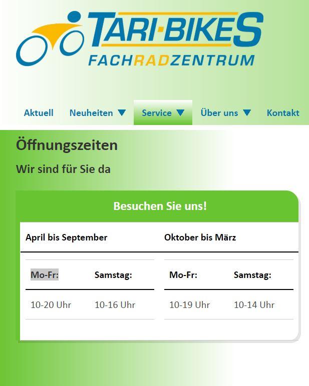 Öffnungszeiten Tari-Bikes Walldorf