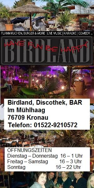 Birdland, Bar und Discothek in Kronau, TVüberregional