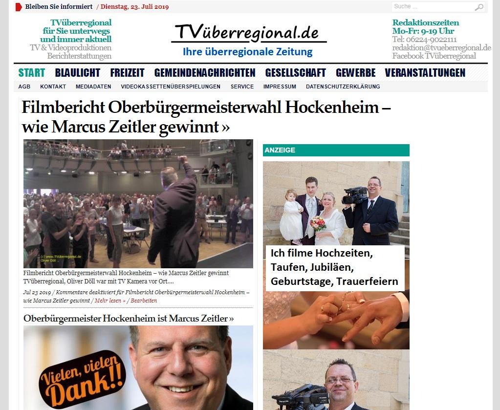 Oberbürgermeisterwahl Hockenheim, Marcus Zeitler gewinnt, 2000 Pixel, (c) Oliver Döll, Titelbild TVüberregional, Onlinezeitung, Videozeitung