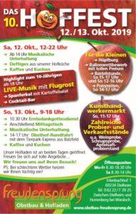 Obstbau und Hofladen Freudensprung größtes Hoffest der Region am 12. und 13.10.2019 mit 10-jährigen Jubiläum