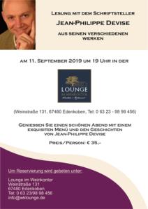 Schriftsteller Jean-Philippe Devise in der Lounge im Weinkontor Edenkoben