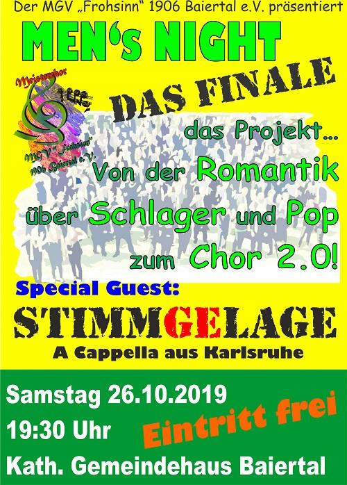 Samstag, 26.10.19 feiert Frohsinn Finale Men's Night im Gemeindehaus Baiertal, 19.30, Eintritt frei