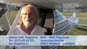 Mosbach, Gaststätte Zum Fliegerle, Flugschule Easy-Bird Günter Holl, Fluglehrer Telefon Mobil: 0171-6543771 Ausbildungsort: Am Flugplatz 1 74821 Mosbach - Lohrbach