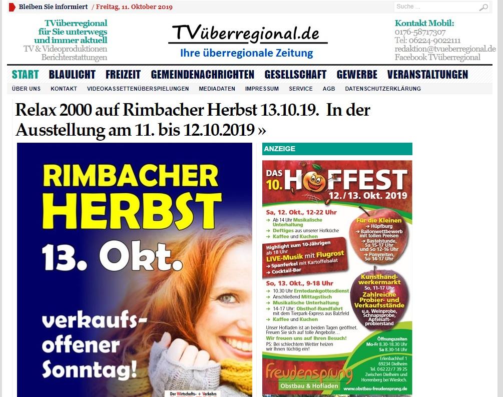 Relax 2000 auf Rimbacher Herbst 13.10.19. In der Ausstellung am 11. bis 12.10.2019, TVüberregional