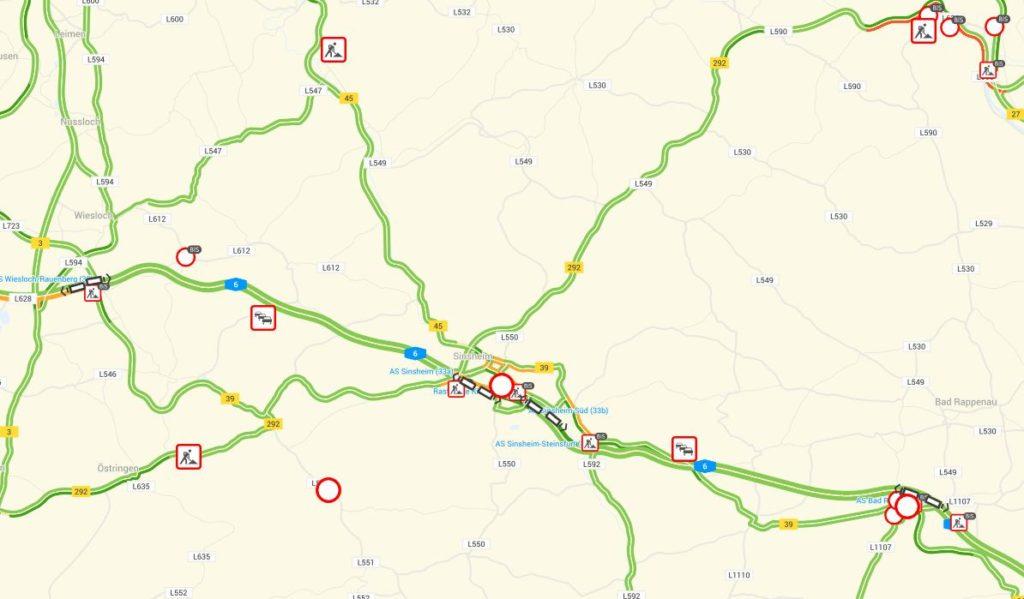 Vollsperrung der A 6 Sinsheim ab 23.11. 20:00 Uhr, bis 24.11. 9:00 Uhr