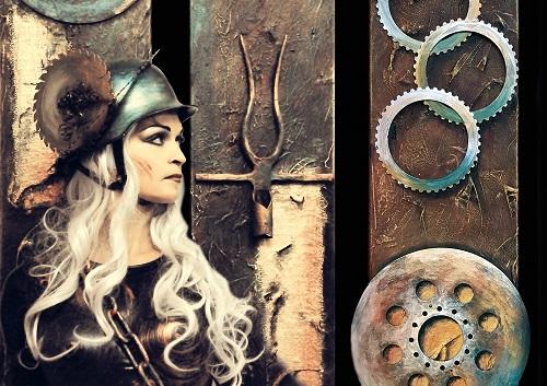 Die Wieslocher Künstlerin Ulrike Grimm präsentiert am 6.1.20 im Foyer das Wormser in Worms vielschichtige Werke mit Metall, Struktur und Sackleinen, Flyer-iron-visions-web, tvüberregional