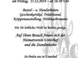 Unterhofer Weihnachtsmarkt, Freitag, 13.12.2019 ab 16:30 Uhr