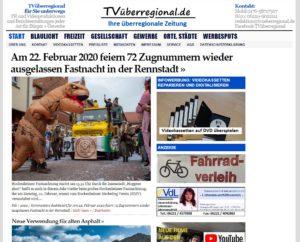 Am 22. Februar 2020 feiern 72 Zugnummern wieder ausgelassen Fastnacht in der Rennstadt, Tvueberregional, Titelseite