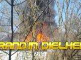Brand einer Scheune und angrenzender Doppelhaushälfte, Dielheim, Bachstraße (18.03.2020)