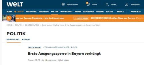 Erste Ausgangssperre in Bayern verhängt