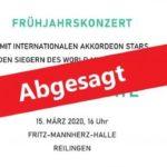 Frühlingskonzert am 15.03.2020 abgesagt