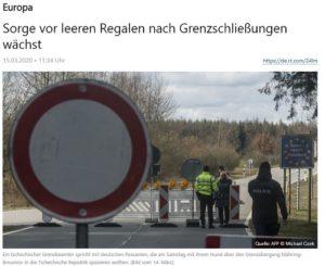 Sorge vor leeren Regalen nach Grenzschließungen wächst