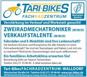 Tari-Bikes FACHRADZENTRUM, WALLDORF, Verstärkung im Verkauf und Werkstatt gesucht