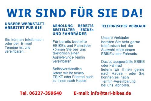 Tari-Bikes, wir sind für Sie da