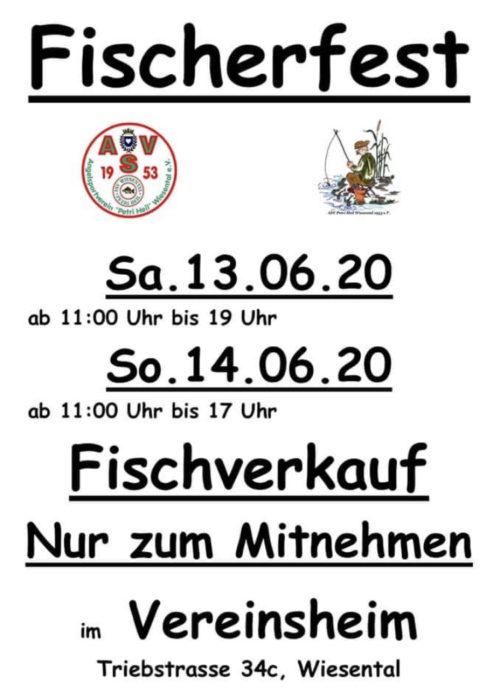 Samstag, 13.06.2020, 11 Uhr bis 19 Uhr und Sonntag, 14.06.2020, 11 Uhr bis 17 Uhr Fischverkauf - nur zum mitnehmen - Fischerfest, Vereinsheim, Triebstrasse 34C, Waghäusel - Wiesental