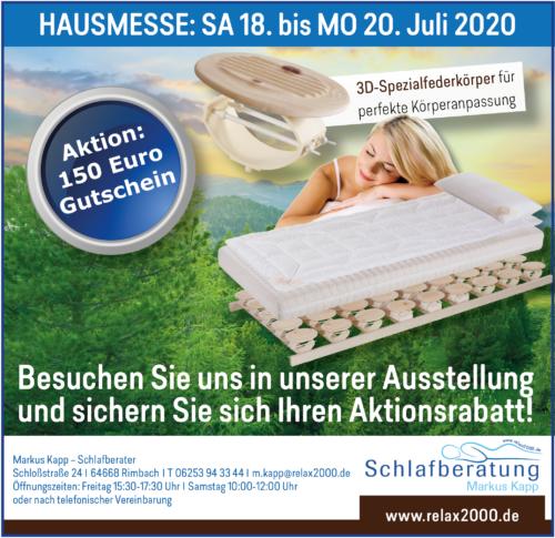 Markus Kapp Schlafberater Relax 2000 Hausmesse Juli 2020