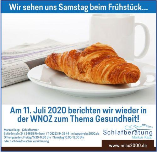 Relax2000 zum Frühstück in den Weinheimer Nachrichten Odenwälder Zeitung