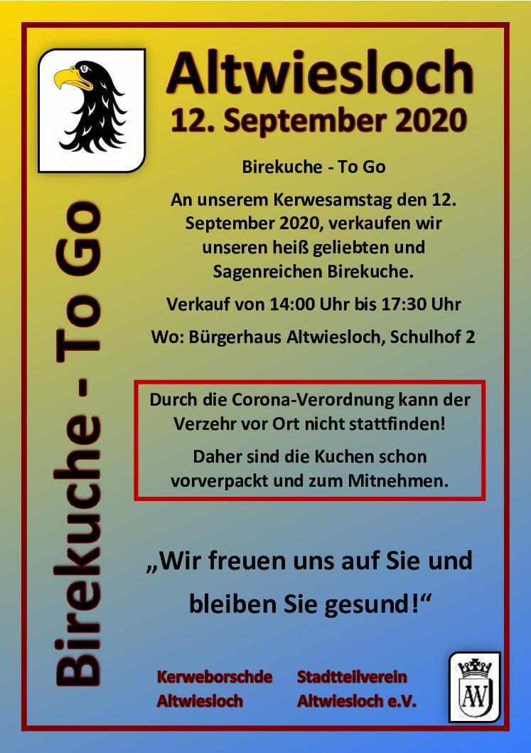 Stadtteilverein Altwiesloch: Birekuche To-Go