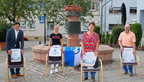 """Reilingen, PK zum """"Tag der Reilinger Dorfgemeinschaft"""" am 12.09.2020, v.l.: BM Stefan Weisbrod, Carmen Schuld, Sabine Petzold und Wolfgang Müller, Bild: Lenhardt"""