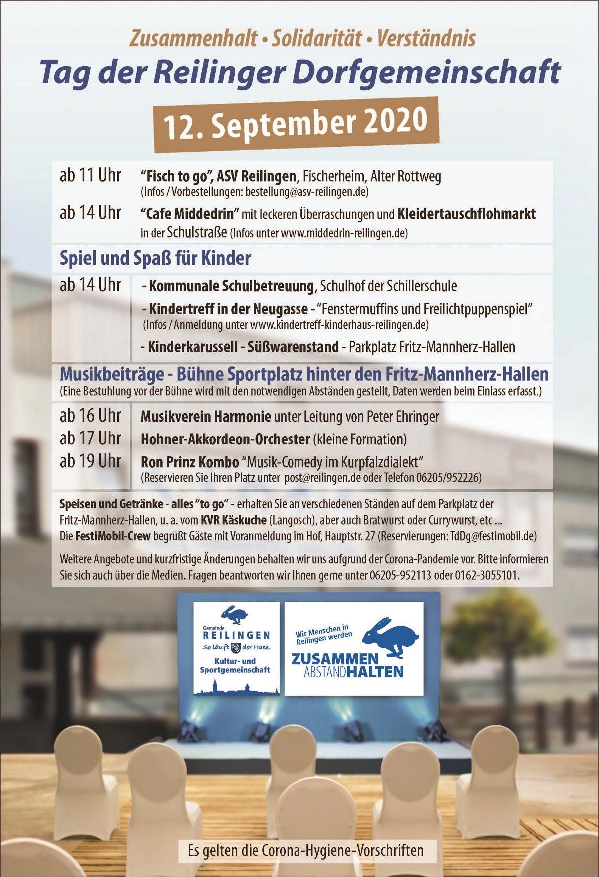 Tag der Reilinger Dorfgemeinschaft, Fish to go, Fritz-Mannherz-Halle, KVR Käskuche, Schillerschule, Reilinger Fernsehen