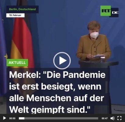 Merkel, Pandemie nicht vorbei, bevor nicht alle Menschen auf der Welt geimpft sind