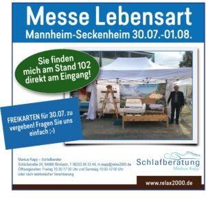 Messe Lebensart Mannheim, 2021, Relax2000, Markus Kapp, Bettensysteme, Schlafberatung